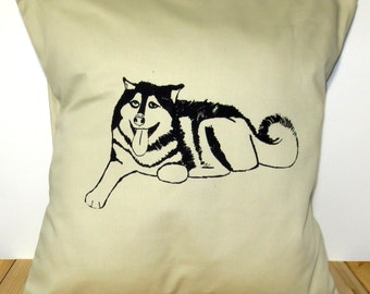 Malamute Dog Pillow Cover for 16''x16'' Cushion Screen Printed Husky Puppy