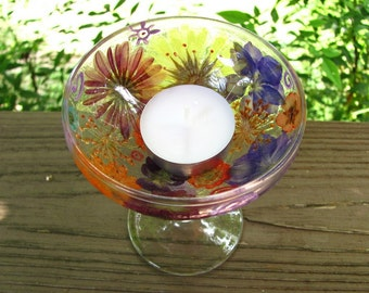 tea-lite candle holder decorated with pressed flowers