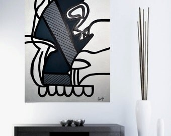 "Original Abstract Painting black & white Modern art on canvas by Carola, 36""x24"" Free shipping MADE TO ORDER"