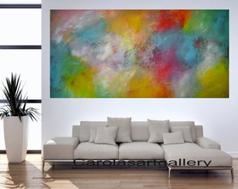 "Colorful Original Abstract Painting Large Acrylic Painting  Modern Art Handmade by Carola, 48""x24"""