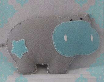 Grey and Aqua Hippo Stuffed Doll- Buy Any 2 Stuffed Dolls Get 1 Free