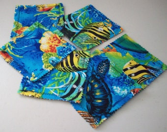 "4.5"" Under the Sea Fabric Indoor/Outdoor/Picnic Coasters/Mug Mats - 6 piece set"