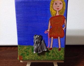 Dog Brooch - Canvas Art Mini - Vintage Brooch - For Dog lovers - Walking Dog Pet Art