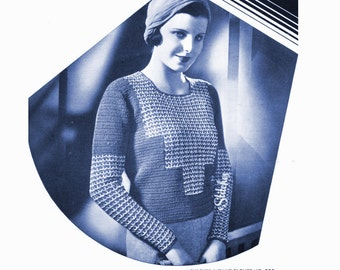 1930s Blouse with Checker Weave Accents  - Crochet PDF pattern 5359