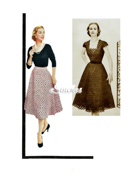 1950s Dress or Blouse and Flared Skirt in Flower Motif - Crochet pattern PDF 5525