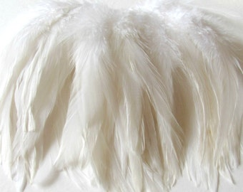 Rooster Schlappen Hackle Feathers - White