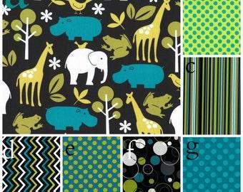 Crib Bedding Zoology Lagoon Chevron Safari Michael MIller  Lolas Lovies handmade baby bedding
