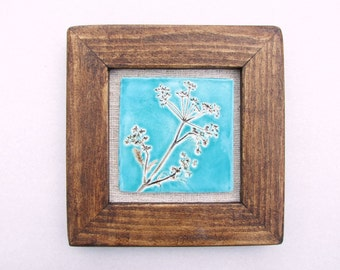 Cow parsley tile picture turquoise sky, reclaimed wood frame, vintage Hungarian linen, Queen Anne's lace, MADE TO ORDER