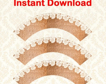 INSTANT DOWNLOAD Burlap and Lace Cupcake Wrappers - Printable DIY Wedding Decor 102