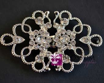 CLEARANCE - Rhinestone Bridal Belt Buckle - Petite Wedding Sash buckle - Clasp Closure - DIY Bridal - Vintage Inspired (BB001)