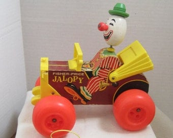 Fisher Price Classic  Vintage Wooden Collectible Jalopy Clown Pull Toy 1960s