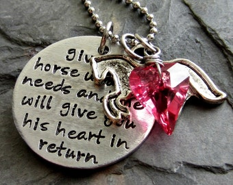 Hand stamped Horse Quote Necklace for Equestrian or Horse Lover-Valentines Day Gift