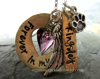 Personalized Handstamped Dog Rememberance Necklace-Pet Necklace-Pet Memorial Gift