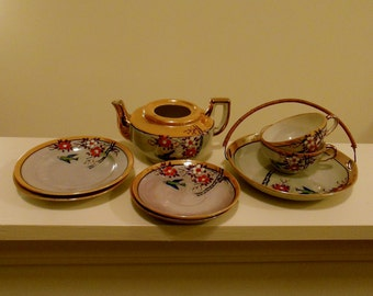 Japan Lusterware Little Tea Party Set Eight Pieces with Bird Orange and White Flowers