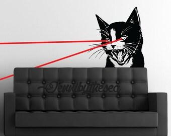 Laser Cat wall decal Huge Feline wall sticker art