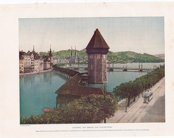 vintage print of the Lake of Lucerne, with the old bridge and watchtower. A 1930's book page.