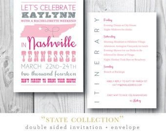 States Collection | Kaylynn's Bachelorette Party Invitation + Itinerary | Printed or Printable by Darby Cards