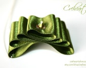 Olivine Satin Ribbon Pendant 925 Sterling silver Chain, Swarovski, Bridesmaid, Birthday, Wedding, Anniversary, Creheart
