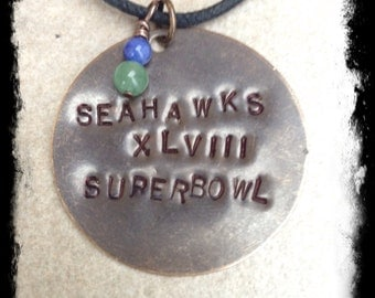 Men's or Unisex Hand Stamped Seahawk Inspired Superbowl Brass Tag Necklace with Hand Crafted Gemstone Charm