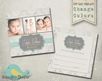 5x5 Gift Card Template -- Vintage Damask Dots