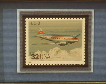 Classic American Aircraft Framed Stamp - The DC-3,  No. 3142q