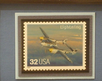 Classic American Aircraft Framed Stamp - The Lightning - No. 3142n