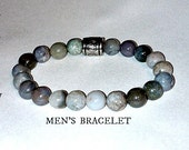 "Bracelet For Men: Genuine Jasper, Many Hues of Grey & Silver Plated Copper ""Release The Past"" By ANena Jewelry"