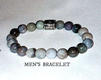 """Bracelet For Men: Genuine Jasper, Many Hues of Grey & Silver Plated Copper """"Release The Past"""" By ANena Jewelry"""