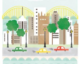 Pittsburgh Pennsylvania art print illustration - 11x14 - city art poster Pittsburgh