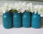 Painted and Distressed Ball Mason Jars- Dark Turquoise -Set of 4 Flower Vases, Rustic Wedding, Centerpieces