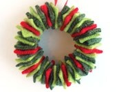Felted Wool Wreath Ornament, Red and Green, Upcycled Recycled, Green Christmas Decoration, Hostess Gift - TrendyEarth