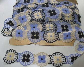 Vintage LACE TRIM ribbon- blue, black, white lace trim -  1 yard -  Ribbon, Applique, sewing, craft notion