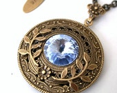 Light Sapphire Swarovski Crystal Necklace  -  More colors - Victorian Silver Pendant - Gothic Jewelry
