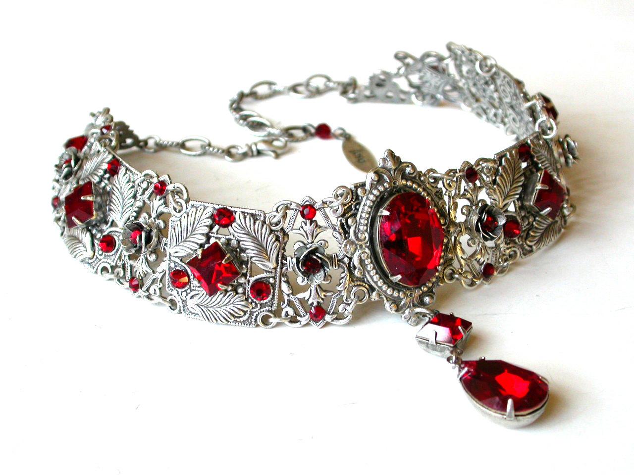 Red Gothic Choker Victorian Swarovski Bridal Silver Choker