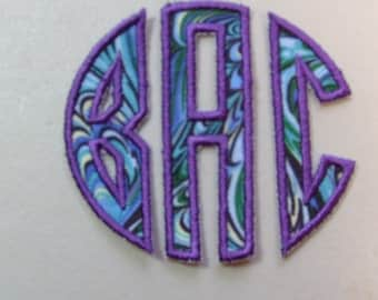 "Custom Personalized  3"" tall Three Letter monogram iron on or sew on applique patch"