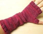 hand-knit wrist warmers, fingerless mittens, wool
