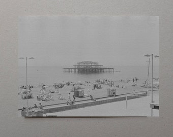 Brighton Pier, Black and White Photography, Britain, Film Photography, Hazy, Monochromatic Art, Brighton Art, Retro Photo, Gray Artwork, Art