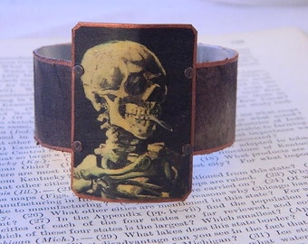 Skull bracelet Skull jewelry Van Gogh jewelry Smoking Skull art mixed media jewelry