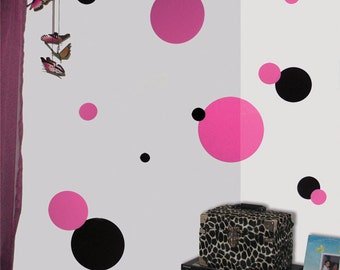 Pink & Black Polka Dot Wall Stickers