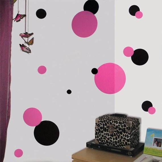 pink amp black polka dot wall stickers childrens pink polka number wall stickers by kidscapes