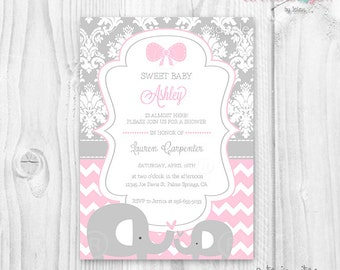 Pink and grey elephant baby shower invitation baby shower girl,  soft pink and grey damask and chevron  printable invitation