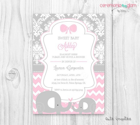 Pink and grey elephant baby shower invitation baby shower girl soft il570xn filmwisefo