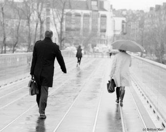 NANTES FRANCE CITY Photo Print Rainy Day Bridge Walk Wall Art