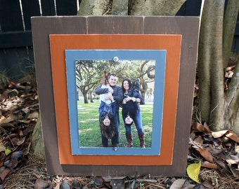 Distressed Picture Frame, 8x10 with Double Wood Mats, 8x10 Frame, Chocolate Brown & Burnt Coral