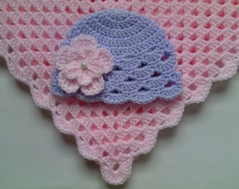 Crochet Baby Blanket and Baby Hat Set Gift Christening Baptism Girl baby beanie flower pink afghan