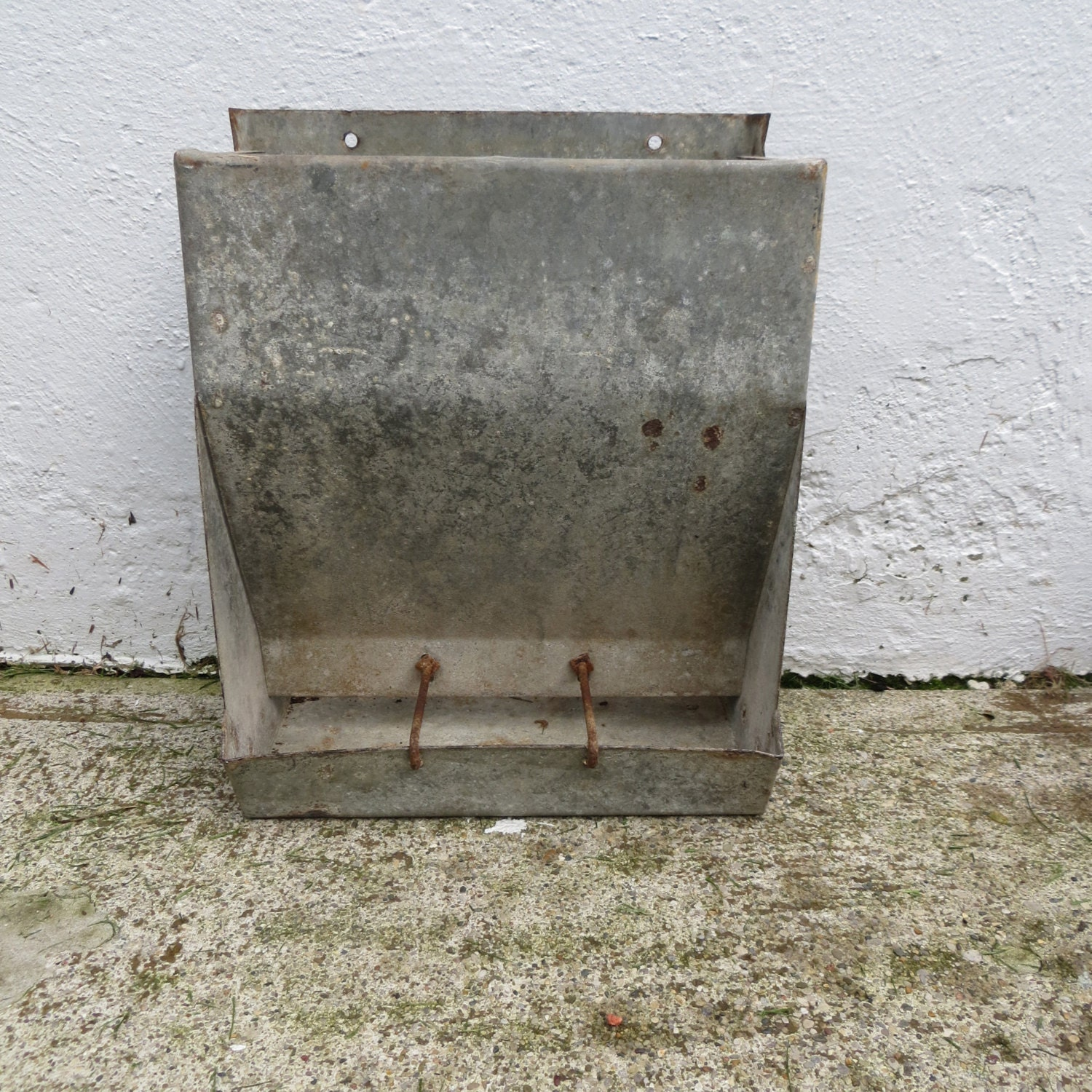 vintage chicken feeder galvanized metal metal by