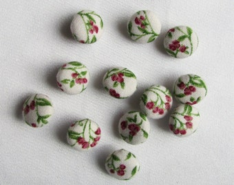 tiny covered buttons, handmade buttons, boutique buttons, half-inch size, white, red, green print