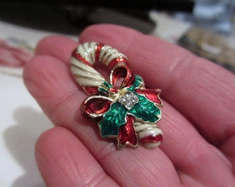 Christmas Candy Cane Pin, Red Green Enamel, Rhinestone, 1960s Vintage Jewelry, Gift for Her