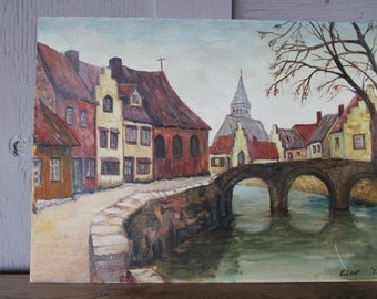 Sale vintage original painting European bridge village primitive rustic folk art Shabby chic Cottage Cabin prairie Farmhouse 12 x 16