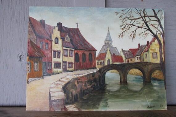 Sale vintage original painting european bridge by for Jewelry arts prairie village
